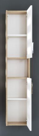 Bad Hochschrank Jersey in weiß und Eiche Sonoma sägerau Badezimmer Hängeschrank 30 x 148 cm