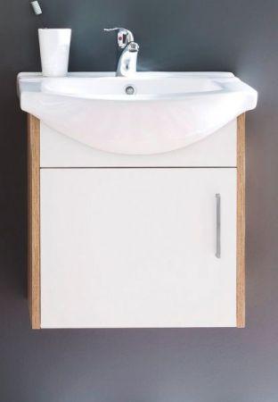 Waschbeckenunterschrank komplett mit Keramik-Waschbecken weiß und Sonoma Eiche 50 x 53 cm Jersey