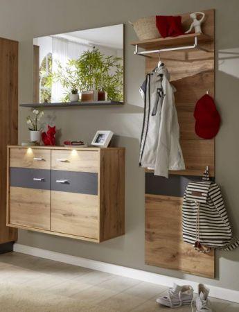 Flur Garderobe Coast Wotan Eiche Dekor und grau Melamin Garderoben Set 3-teilig 155 cm inkl. Beleuchtung