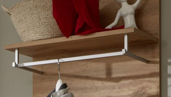 Flur Garderobe Coast Wotan Eiche Dekor und grau Garderoben Set 2-teilig 155 cm inkl. Beleuchtung