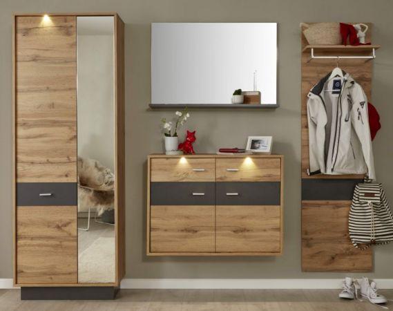 Flur Garderobe Coast Wotan Eiche Dekor und grau Garderoben Set 4-teilig 239 cm inkl. Beleuchtung
