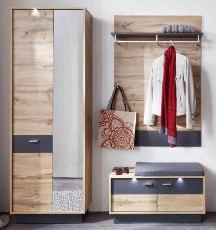 Flur Garderobe Coast Wotan Eiche Dekor und grau Garderoben Set 3-teilig 170 cm inkl. Beleuchtung