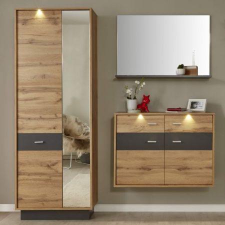 Flur Garderobe Coast Wotan Eiche Dekor und grau Garderoben Set 3-teilig 170 cm inkl. LED Beleuchtung