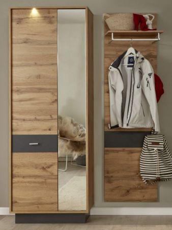 Flur Garderobe Coast Wotan Eiche Dekor und grau Garderoben Set 2-teilig 140 cm inkl. Beleuchtung