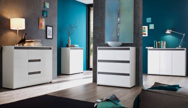 sideboard sol hochglanz wei und grau dekor 119 x 84 cm. Black Bedroom Furniture Sets. Home Design Ideas