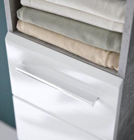 Badmöbel Set Nano in weiß Hochglanz und Stone Design grau Badkombination 4-teilig 154 x 182 cm