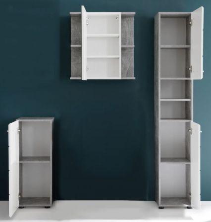 Badmöbel Set Nano in weiß Hochglanz und Stone Design grau Badkombination 3-teilig 154 x 182 cm
