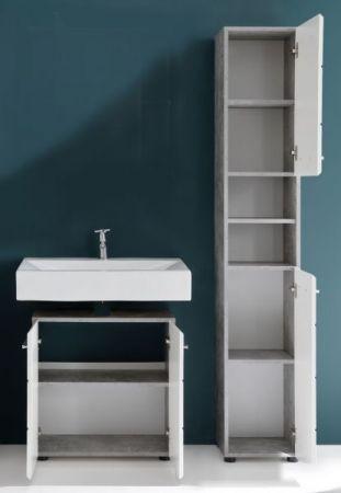 Badmöbel Set Nano in weiß Hochglanz und Stone Design grau Badkombination 2-teilig 107 x 182 cm