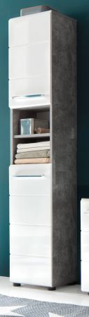 Bad Hochschrank Nano in weiß Hochglanz und Stone Design grau Badschrank 32 x 182 cm Badmöbel