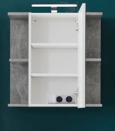 Bad Spiegelschrank Nano in Beton Stone Design grau Badmöbel 60 x 62 cm