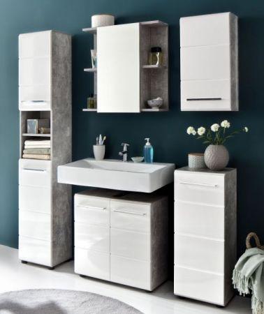 Badmöbel Waschbeckenunterschrank Nano in weiß Hochglanz und Stone Design grau Badschrank 60 x 60 cm Badmöbel