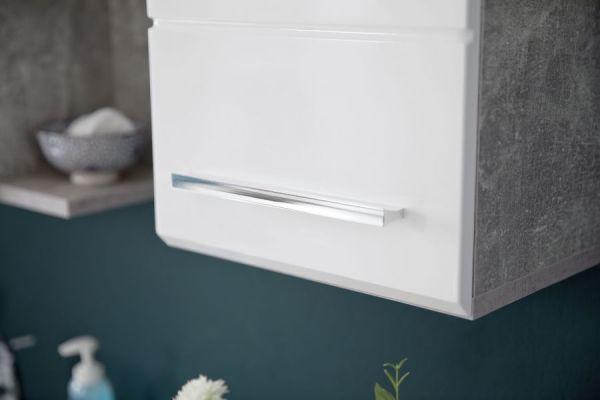 Bad Hängeschrank Nano in weiß Hochglanz und Stone Design grau Badschrank 32 x 61 cm Badmöbel