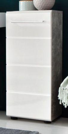 Bad Unterschrank Nano in weiß Hochglanz und Stone Design grau Kommode 32 x 82 cm Badmöbel