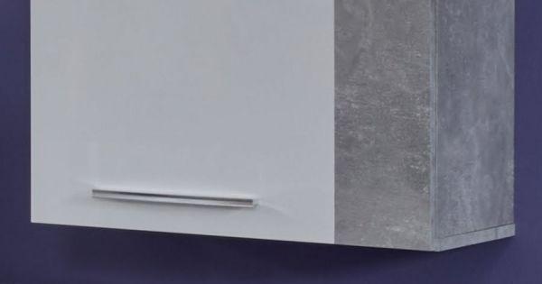 Hängeschrank Rock in weiß Hochglanz und Stone grau 52 x 103 cm Wohnzimmer