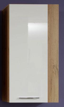 Hängeschrank Rock in weiß Hochglanz und Wotan Eiche 52 x 103 cm Wohnzimmer