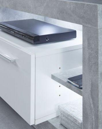 TV-Lowboard Rock in weiß Hochglanz und Stone Design grau Fernsehtisch 150 x 48 cm