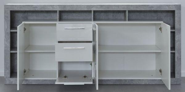 Sideboard Rock in weiß Hochglanz und Stone grau Design Anrichte 200 x 90 cm