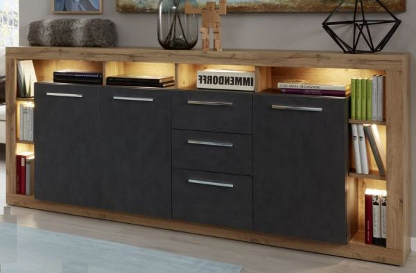 Sideboard Rock in Matera Anthrazit und Wotan Eiche Kommode 200 x 90 cm