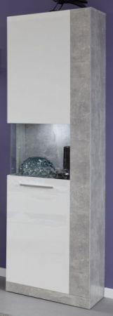 Vitrine Rock in weiß Hochglanz und Stone grau Vitrinenschrank 52 x 186 cm