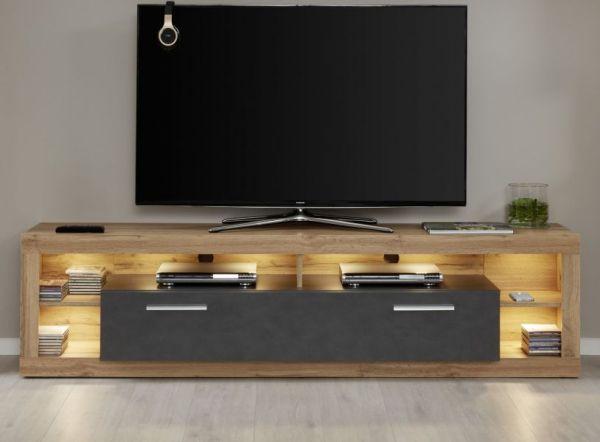 TV-Lowboard Rock in Matera anthrazit und Wotan Eiche Fernsehtisch Breite 200 cm