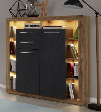 Highboard Rock in Matera Anthrazit und Wotan Eiche Kommode 121 x 128 cm