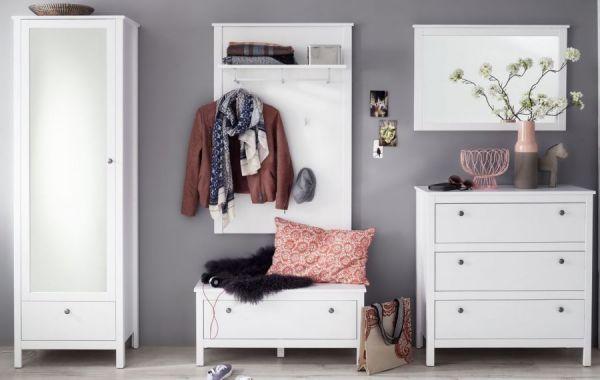 Kommode Ole weiß Schrank 92 x 98 cm für Flur Esszimmer und Wohnzimmer