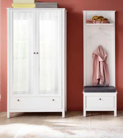 Garderobenset 3-teilig weiß Garderobenkombination Ole mit Schuhbank und Schrank 160 cm