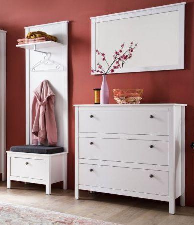 Garderobenset 4-teilig weiß Garderobenkombination Ole mit Schuhbank und Kommode 160 cm