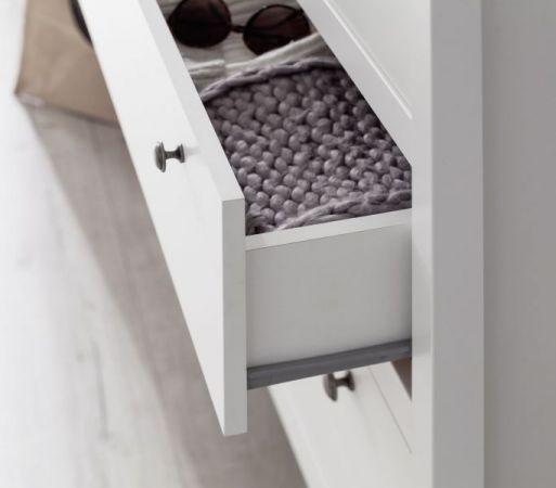 Garderobenset 4-teilig weiß Garderobenkombination Ole mit Schuhbank und Kommode 195 cm