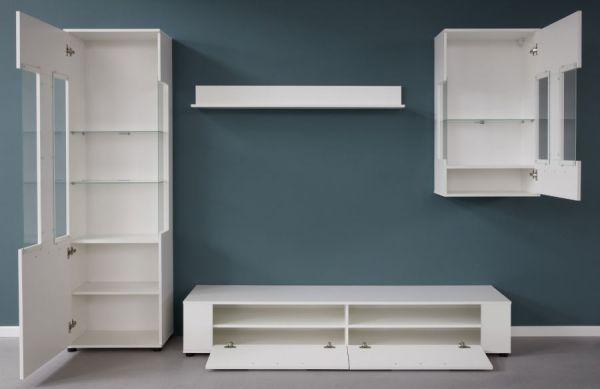 Wohnwand Jump in weiß Glanz 280 x 182 cm Schrankwand 4-teilig