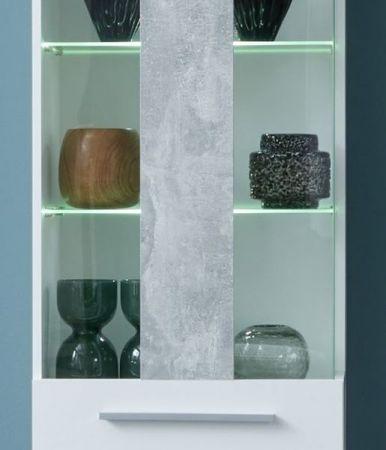 Wohnwand Jump in weiß Glanz und Stone grau 280 x 182 cm Schrankwand 4-teilig