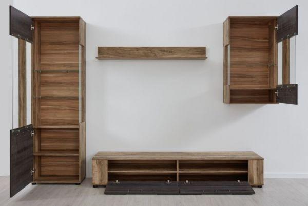 Wohnwand Jump in Nussbaum und Touchwood Dekor 280 x 182 cm Schrankwand 4-teilig