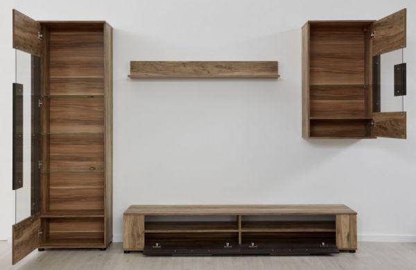 Wohnwand Jump in Nussbaum und Touchwood Dekor 265 x 182 cm Schrankwand 4-teilig