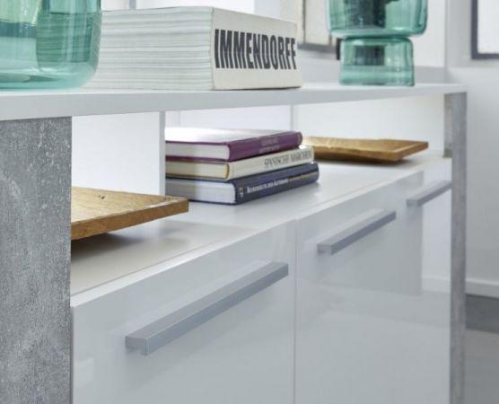 Sideboard Kommode Jump in Glanz weiß und Stone grau 165 x 87 cm