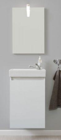 Badmöbel komplett Set Champ in weiß inkl. Waschbecken Spiegel und Beleuchtung Breite 40 cm