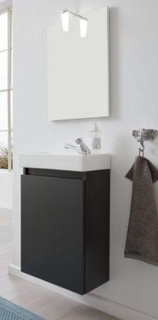 Badmöbel komplett Set Champ in grau inkl. Waschbecken Spiegel und Beleuchtung Breite 40 cm