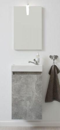 Badmöbel komplett Set Champ inkl. Waschbecken Spiegel und Beleuchtung in Stone grau 40 cm