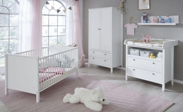 """Babyzimmer Set """"Ole"""" 4-teilig in weiß Landhaus mit Wickelkommode, Babybett, Kleiderschrank und Wandregal"""
