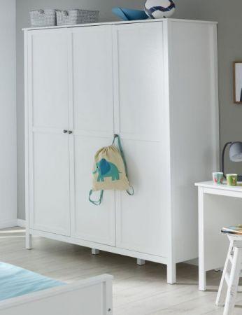 Babyzimmer Ole komplett Set 4-teilig weiß mit Wickelkommode Babybett Kleiderschrank und Wandregal