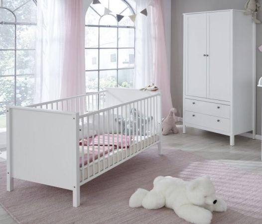 Babyzimmer Babybett Ole in weiß Gitterbett mit Schlupfsprossen und Lattenrost Liegefläche 70 x 140 cm