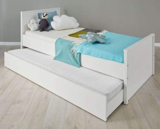 Kinderzimmer Jugendzimmer Ole in Landhaus weiß Set 2-teilig Bett Liegefläche 90 x 200 cm mit Nachtkommode