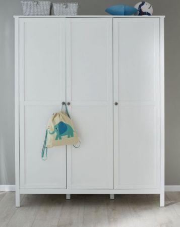 Baby- und Jugendzimmer Kleiderschrank Ole in Landhaus weiß 3-türig 141 x 192 cm