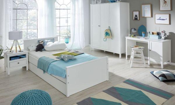 Jugendzimmer Nachtkommode Ole in weiß mit Schublade Nachttisch