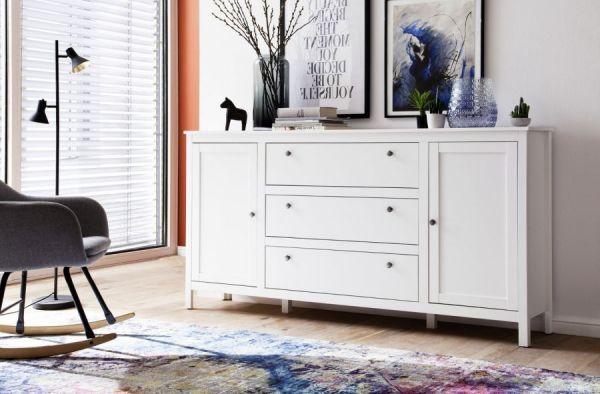 """Sideboard """"Ole"""" in weiß im Landhausstil (183 x 98 cm) mit drei Schubladen"""