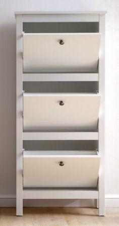 Garderobe Ole Schuhschrank in weiß Schuhkipper 55 x 126 cm