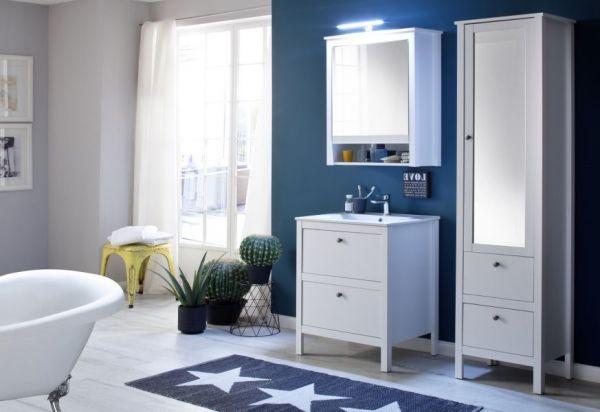 Spiegelschrank Badmöbel Ole in weiß 62 x 80 cm optional mit LED Spiegellampe