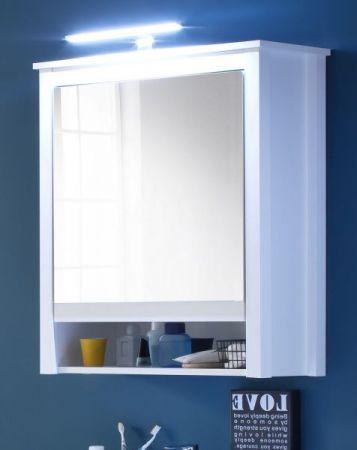 Spiegelschrank Badmöbel Ole weiß Landhaus mit LED Spiegellampe 62 x 80 cm