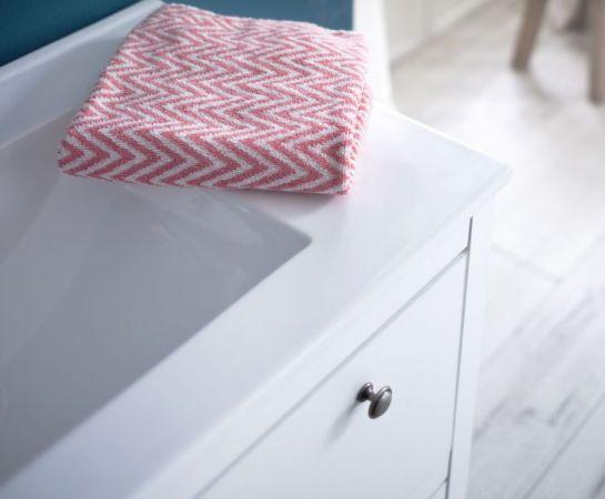 Waschbeckenunterschrank Ole weiß Landhaus Waschtisch inkl. Waschbecken 2-teilig 61 x 82 cm