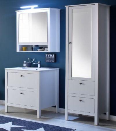 Badmöbel Set Ole weiß Landhaus 4-teilig komplett mit Keramik-Waschbecken