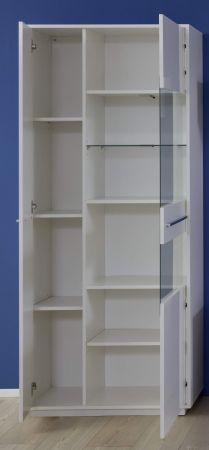 Vitrine Kuba in weiß Glanz Vitrinenschrank 80 x 190 cm